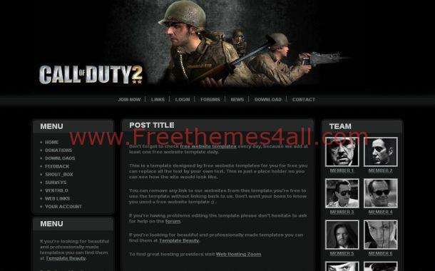 Free Call Of Duty Games CSS Website Template