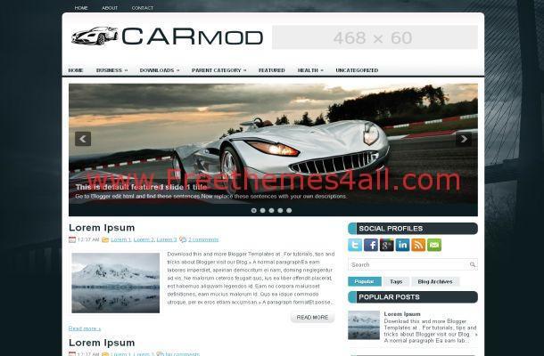 Cars Blue Magazine Blogger Layout Theme Download