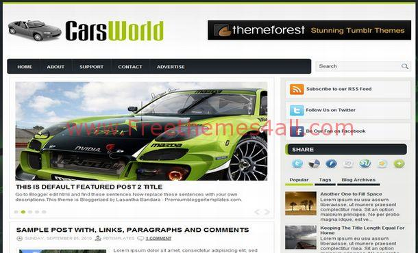 Green Black Cars Free Blogger Layout Template