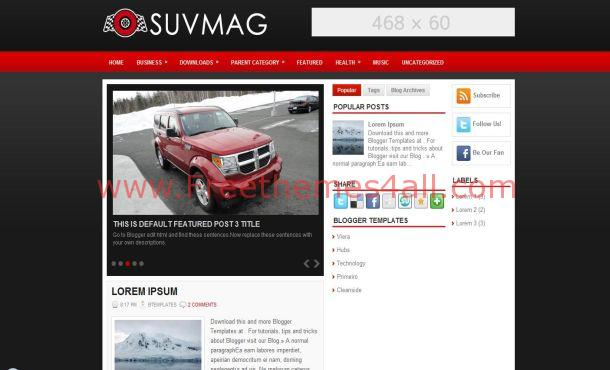 Free Red Black Cars Blogger Theme Template