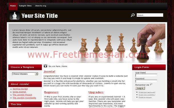 Black Red Brown Chess Joomla Theme Template