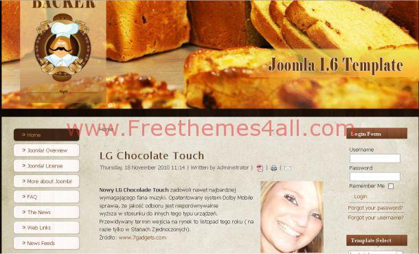 Free Baker Chocolate Brown Joomla Template