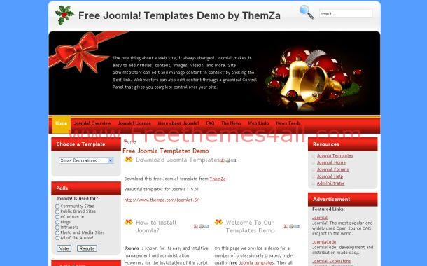 Christmas Red Blue Free Joomla Theme Template