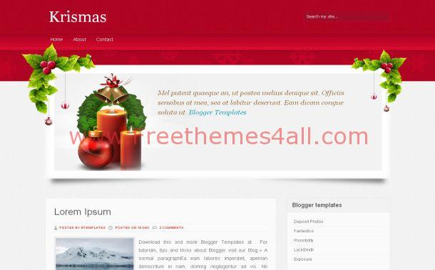Christmas Red Chrome Blogger Theme Template