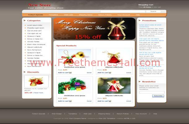 Free HTML Red White Christmas Website Template