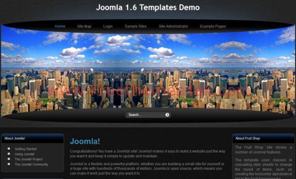Free Dark Black City Blue Joomla Template