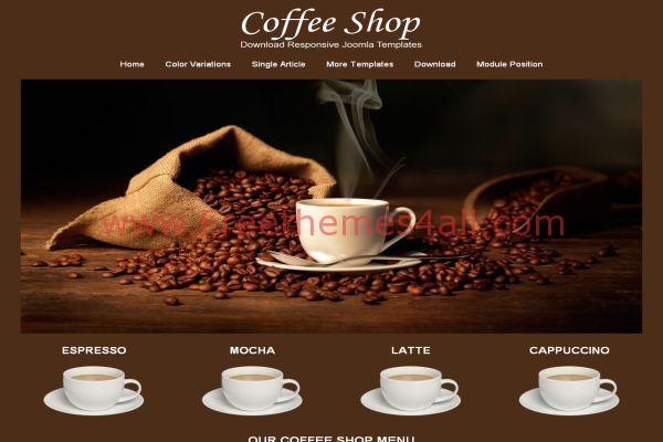 Free Respnsive Brown Coffee Joomla Template