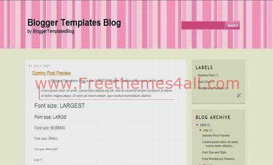 Free Blogger Cool Stripes Blog Pink Template