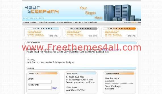 Free Web Hosting Blue Orange HTML Template