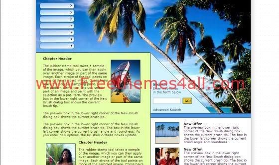 Free Web Sexy Travel Beach Website Template