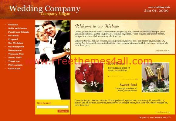 Free Wedding Company Web Template