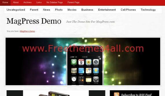 Free WordPress Veramag Red White Magazine Theme