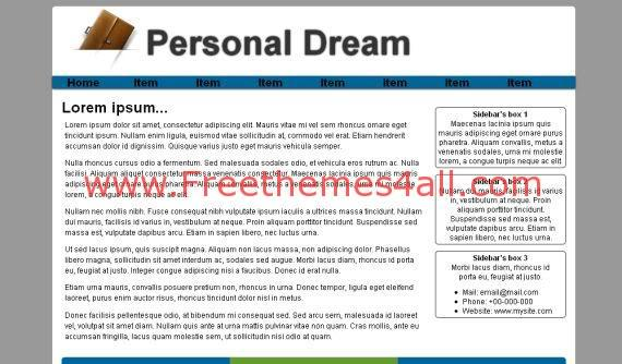 Free Personal Dream White HTML Website Template