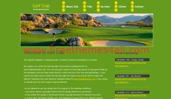 Free Green Yellow Golf HTML CSS Template
