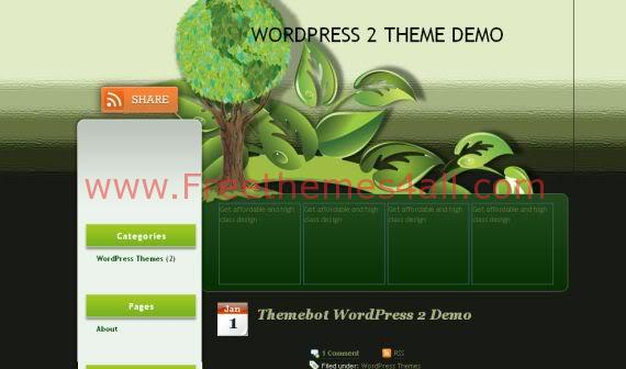 Free WordPress Green Heart Vector Grunge Theme