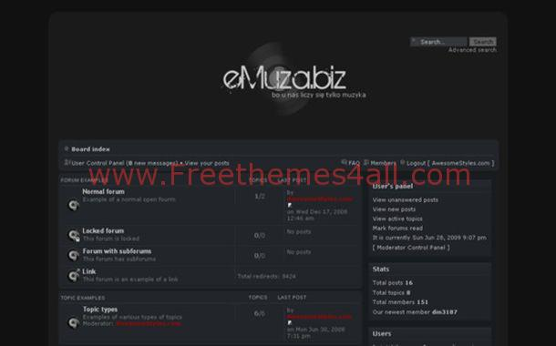 Free Phpfusion Abstract Black Blue Theme Template