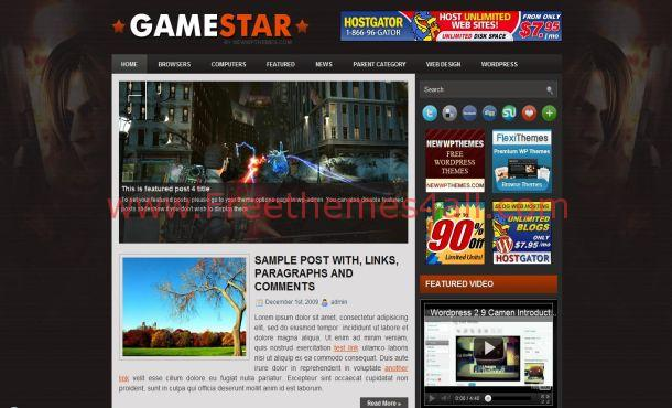 Free Jquery Games WordPress Theme Template