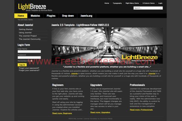 Free Dark Black Yellow Joomla Theme Template Freethemes4all