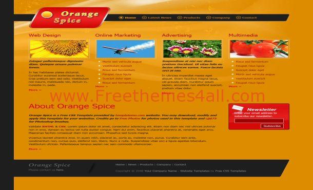 Free Dark Orange Cooking CSS Website Template