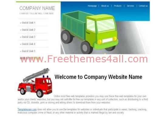 Free CSS Trucks Transportation Website Template