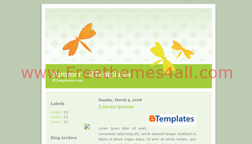 Free Blogger Nature Butterfly Green Web2.0 Template