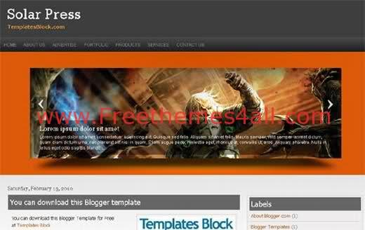 Free Blogger Solar Press Game Magazine Template