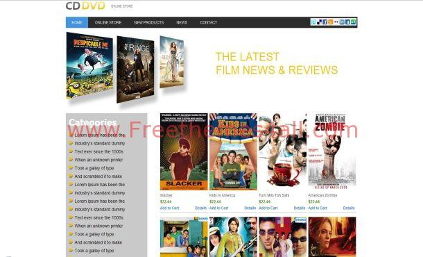 Free HTML5 Movies Shop Website Template