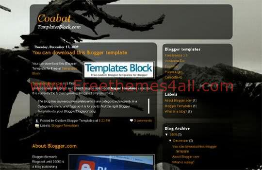 Free Blogger Night Coabat Web2.0 Template