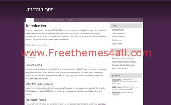 Free CSS Anomalous Purple Template