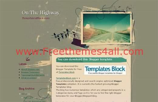 Free Blogger On The Highway Green Template