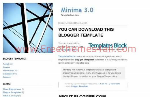 Free Blogger Minima 3.0 White Blog Template