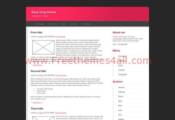 Free HTML Easy Blog Theme Website Template