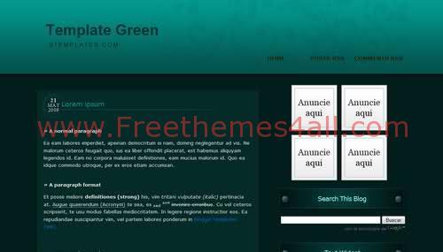Free Blogger Dark Green Design Web2.0 Template