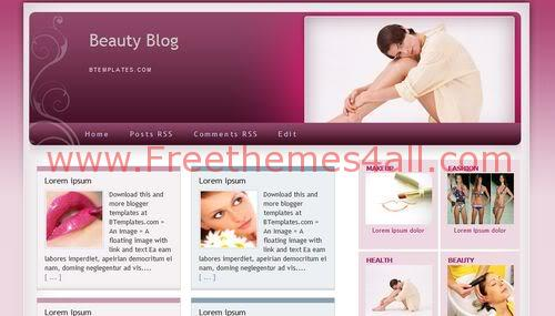 Free Blogger Sexy Beauty Care Pink Web2.0 Template