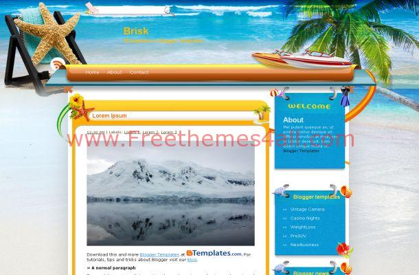 Free Blogger Exotic Beach Travel Theme Template