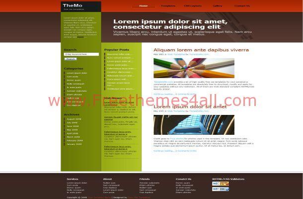 ezine green red css website freethemes4all. Black Bedroom Furniture Sets. Home Design Ideas