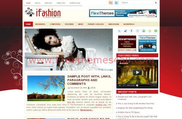 Red Floral Wordpress Fashion Theme