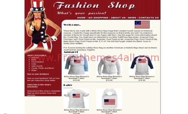 Free USA Fashion Red Website Template