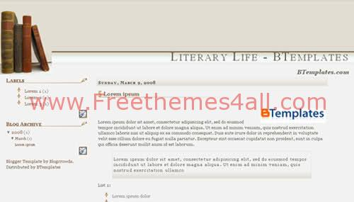 Free Blogger Literary Books Web2.0 Template
