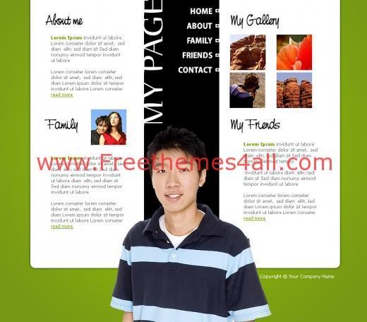 Free Flash Green Book Personnal Website Template