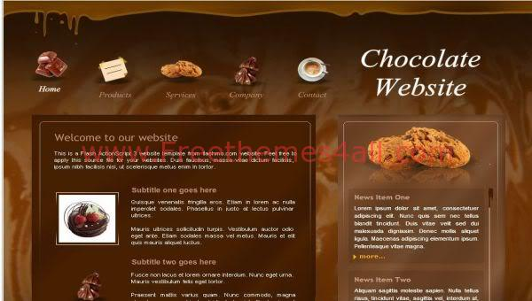 free flash chocolate store website template