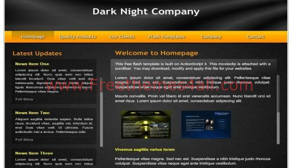 Free Flash Dark Night Orange Web2.0 Template