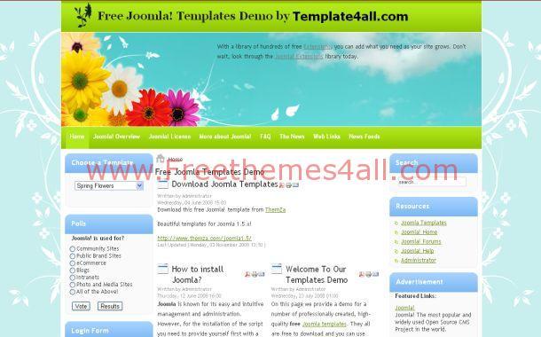 Floral Blue Grunge Free Joomla Theme Template