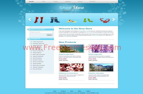 Free HTML Blue Shoes Store CSS Website Template