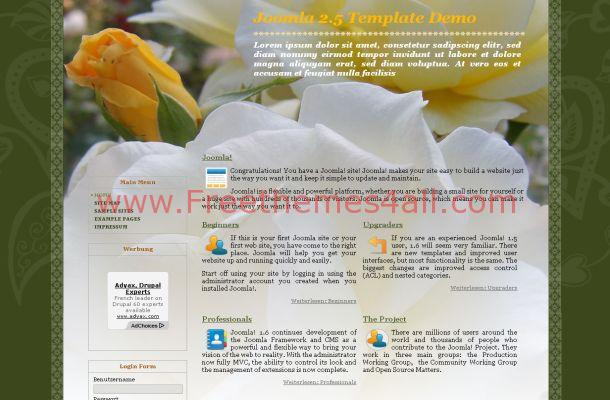 Yellow Green Flowers Free Joomla Theme Template