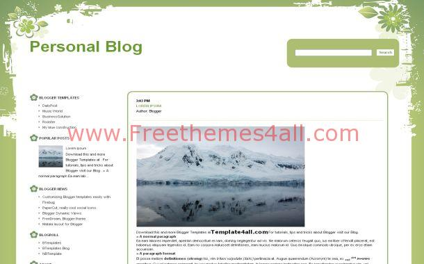 Floral Green White Free Blogger Theme Template