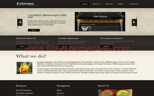 black brown css website template download