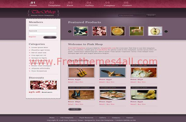 Pink Purple Shop Free Html Template Website Theme