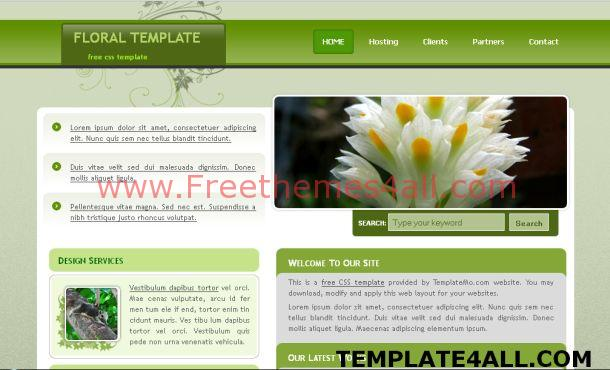 Free Green Floral CSS Website Template