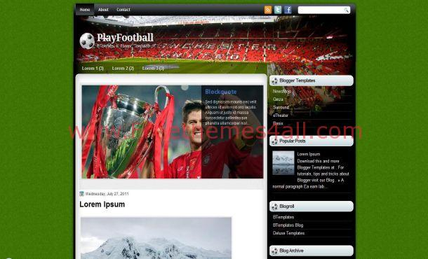 Soccer Football Blogger Template
